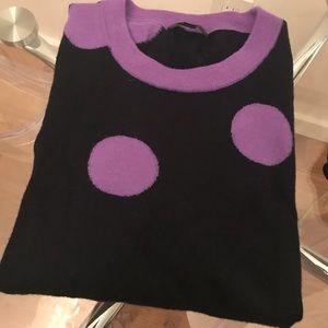 J. Crew Tippi sweater, navy lavender polka dots